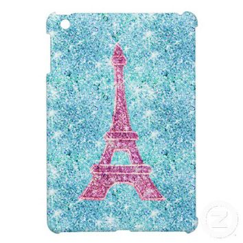Girly Pink Eiffel Tower, teal blue glitter photo Case For The iPad Mini from Zazzle.com