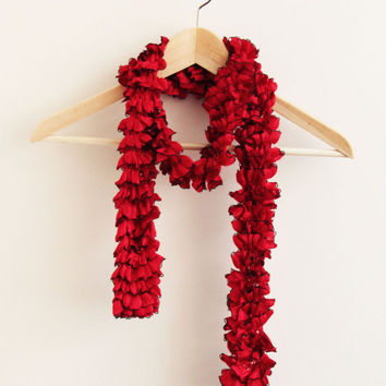 Valentine's Day Ruffle Scarf Red hand knit scarf,lariat scarves ruffled scarves crocheted scarf, frilly knitted scarf, colorful scarf sashay