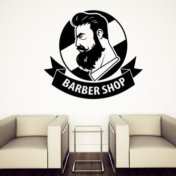 Wall Stickers Vinyl Decal Barber Shop with Ribbon Logo Haircut Men Salon (n679)