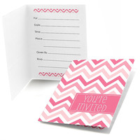 Chevron Pink - Birthday Party Fill In Invitations - 8 ct