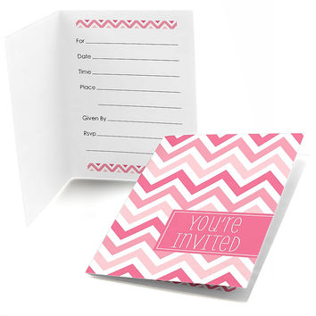 Chevron Pink - Baby Shower Fill In Invitations - 8 ct
