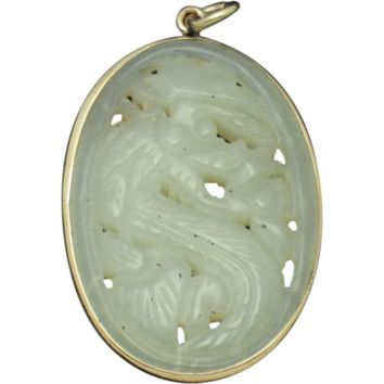 Authentic Chinese Export Carved Nephrite Jade Dragon Pendant 9k Rose Gold
