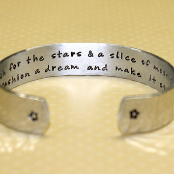 Friend / Gradution / Promotion Gift - Reach for the stars... Secret Message Custom Hand Stamped Aluminum Cuff Bracelet by Korena Loves