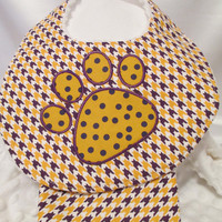 LSU Tiger Paw Applique's on Baby Bibs with Matching Burp Cloths