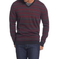 Alfani Mens Striped V-Neck Pullover Sweater