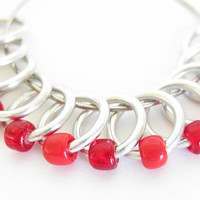 Medium knitting stitch markers | snag-free stitchmarkers | snagless stitch markers | dangle-free | silver rings; red beads | #0057