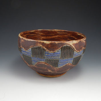 ceramic bowl, wheel thrown, hand carved, blue and brown