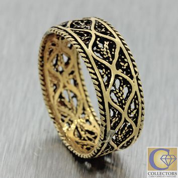 1880s Antique Vtg Estate 14k Yellow Gold Filigree 7mm Wide Wedding Band Ring J8