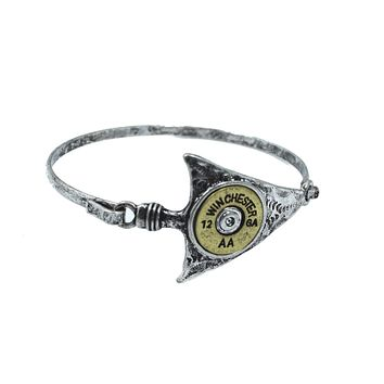 Rustic Western Cowgirl Arrow and Bullet Shell Cuff Bracelet