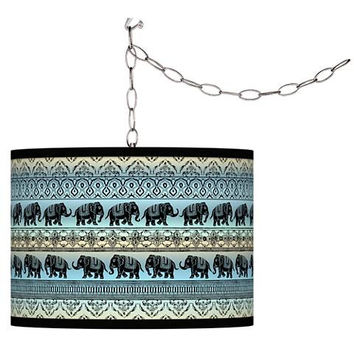 Boho Elephant Pattern Plug-In Pendant Chandelier