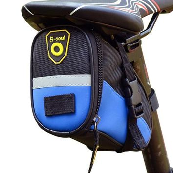 Mountain Bike Saddle Bag Waterproof 1680D Oxford Bicycle Tail Pouch Bags Reflective Cycling Seat Bag 6 Colors