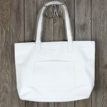 Nice New Ralph Lauren Fragrance Tote White Faux Leather Large Shopper Carry All Bag