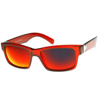 Action Sports Colorful Two-Tone Rectangle Color Mirror Lens Sunglasses