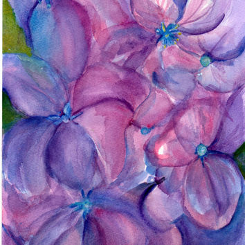 Original  Blue and Purple Hydrangeas Watercolor by SharonFosterArt