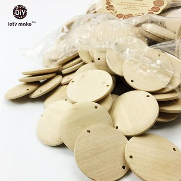 Let's make Natural Wood Circle Wooden Discs Flat round Jewelry beads unfinished organic eco-friendly untreated wood slice(39mm)
