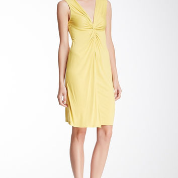 BCBGMAXAZRIA Women's Karen Twisted Front Dress Medium Sz M Yellow Bamboo $128