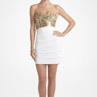 Short Strapless Jersey Prom Dress with Sequin Bust
