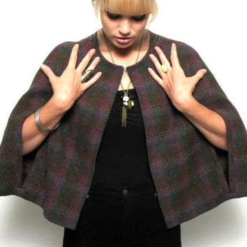 Vintage Plaid Wool Cape