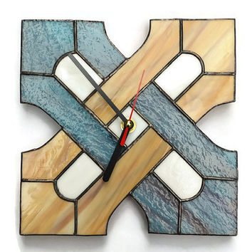 Wall clock made of stained glass with Celtic geometric design - Simple, modern and unique wall decor in turquoise blue and wood brown colors