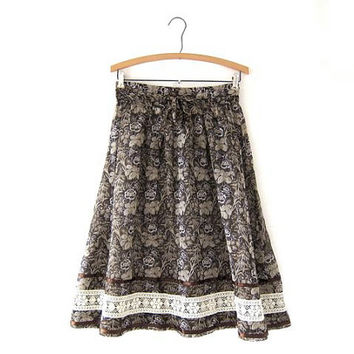 70s floral skirt / sheer brown skirt / apron skirt