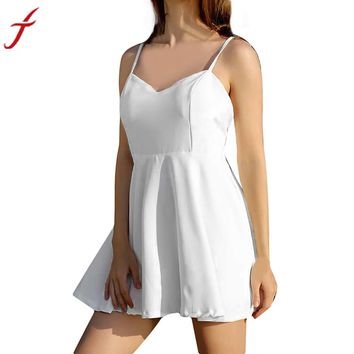 2017 Elegant White Dress Women Sexy backless V - Neck Angel Wings beach Backless Feathers Empire A-Line Mini Dress