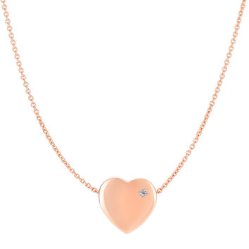 14K Rose Gold Puffy Diamond Heart Necklace - 16 To 17 Inches Expandable