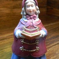 "Vintage Hallmark Ornament -  ""Mrs Beaumont"" - 2nd in the Dickens Caroler Bell Series from 1991 - Damaged Box - Missing Clapper"