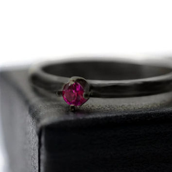 Minimalist Ring, Blackened Silver Ring, Oxidized Ruby Ring, 3mm Ruby Engagement Ring