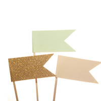 Mint, ivory, gold flag cupcake toppers / party picks