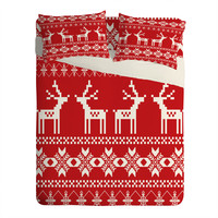 Natt Christmas Red Deer Sheet Set Lightweight