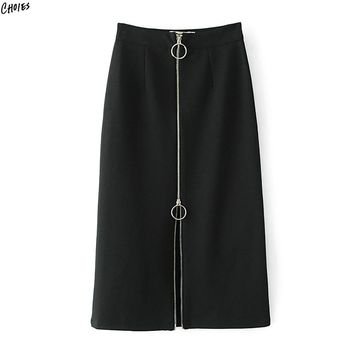 Black Zipper Up Front Circle Midi Skirt Women High Waist Straight Autumn New High Street Style Bottom Wear