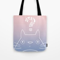 Stay Curious | Serenity & Rose Quartz Tote Bag by Miss L In Art