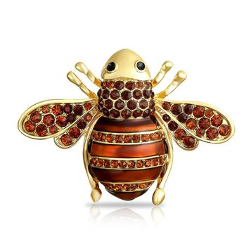 Bumble Bee Golden Brown Color Enamel Crystal Brooch Pin Gold Plated