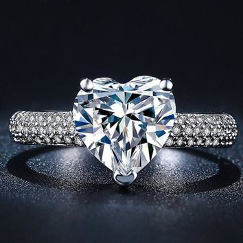 big heart stone 3 carat crystal jewelry engagement wedding ring gift box  number 1