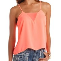 Neon Deep V Cut-Out Swing Tank Top by Charlotte Russe - Fiery Coral
