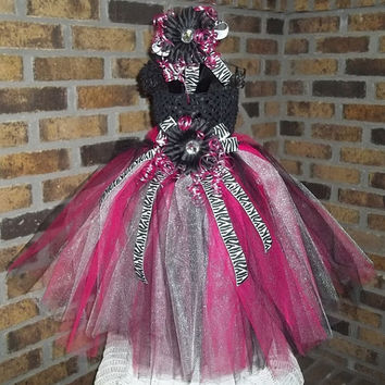 Beautiful Fuchsia/Black/White Zebra accented Tutu Dress - 1st - Birthday - Photo - Pageant - Unique - Flower Girl - Adorable -