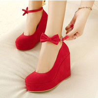 Wedge Suede Butterfly Red Shoes = 4814764548