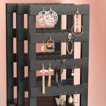 Jewelry Organizer, Wall Mount Wooden Earring Holder, Holds 40 pairs, Jewelry Holder