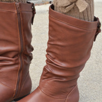 Bow-tiful Leg Warmers: Brown