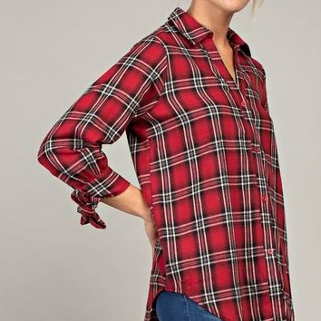 Red and Black Plaid Top with Self Tie Sleeves