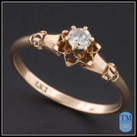 Antique Victorian Diamond Engagement Ring - Size 6.5