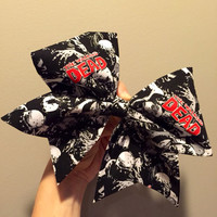 Zombie Cheer Bow black white red hair bow