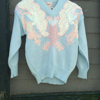 Vintage 80's 90's Soft pretty 1980s Sky Blue white pink sweater top Beaded pullover sweater Never Worn Nos with Original tags