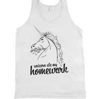 Homework Eating Unicorn-Unisex White Tank