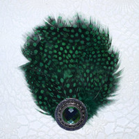 Feather hair clip, rhinestone, green hair clip, green and black hair clip, rustic, parties, birthday, weddings, party favors, raves