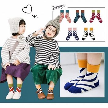 Cotton Diagonal Stripes Patchwork Color Baby Kids Children Socks For 1-12 Years Old Girls Boys (5 Pairs) Multi/2-3T