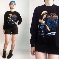 90s Harley Davidson Tshirt Long Sleeve Black Biker Tee Shirt Motorcycle Pinup Girl Top Men's Size Large Women's Size Extra Large Unisex