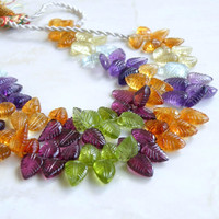 Citrine Lemon Quartz Blue Topaz Amethyst Peridot Rhodolite Garnet Gemstone Carved Leaf Briolette 10mm 25 beads