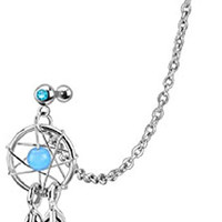 Dream Catcher With Gemmed Double Cartilage/Tragus 16g Barbell Chain Dangle (Aqua)