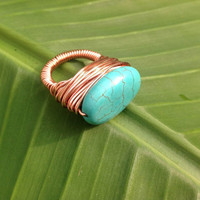 Turquoise copper ring - size 6 1/2 - blue turquoise - wire wrapped - handmade - chunky ring - cocktail ring -